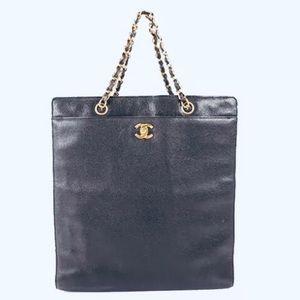 Auth CHANEL Lambskin Caviar 24k gold Flap Tote Bag